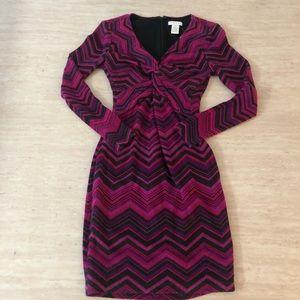 Cache fuchsia Chevron mini sweater dress PXS